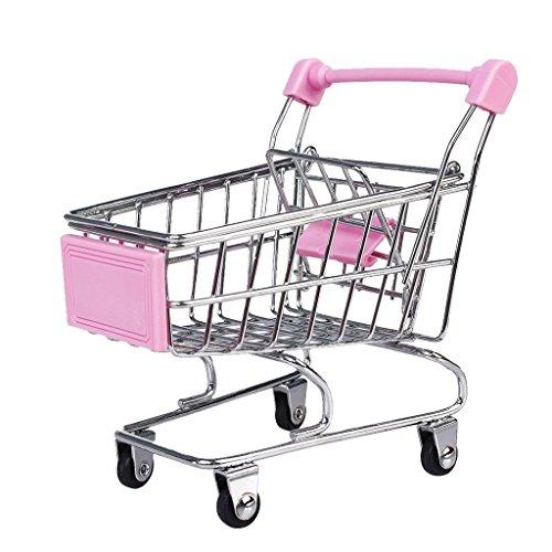 Einkaufswagen Gitterwagen Metall für Kinder Kaufladen Spielzeug Toy - rosa, Small