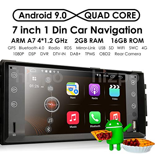 Android 9.0 Quad Core 7 Inch 2GB RAM + 16GB ROM Car Stereo GPS System for Dodge Ram Challenger Jeep Wrangler JK Head Unit Single Din in Dash Radio Receiver Navigation (Challenger Radio)