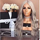 Dream Beauty Human Hair Lace Wig 8A Grade Pure Grey Color 130% Density Full Lace Wig with Baby Hair for Black Women (18'', full lace wig)