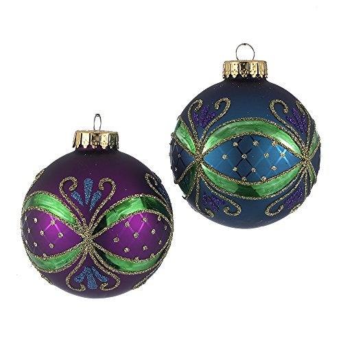 Kurt Adler 65mm Peacock-Colored Ornate Design Glass Ball Ornaments, 4-Piece Box Set