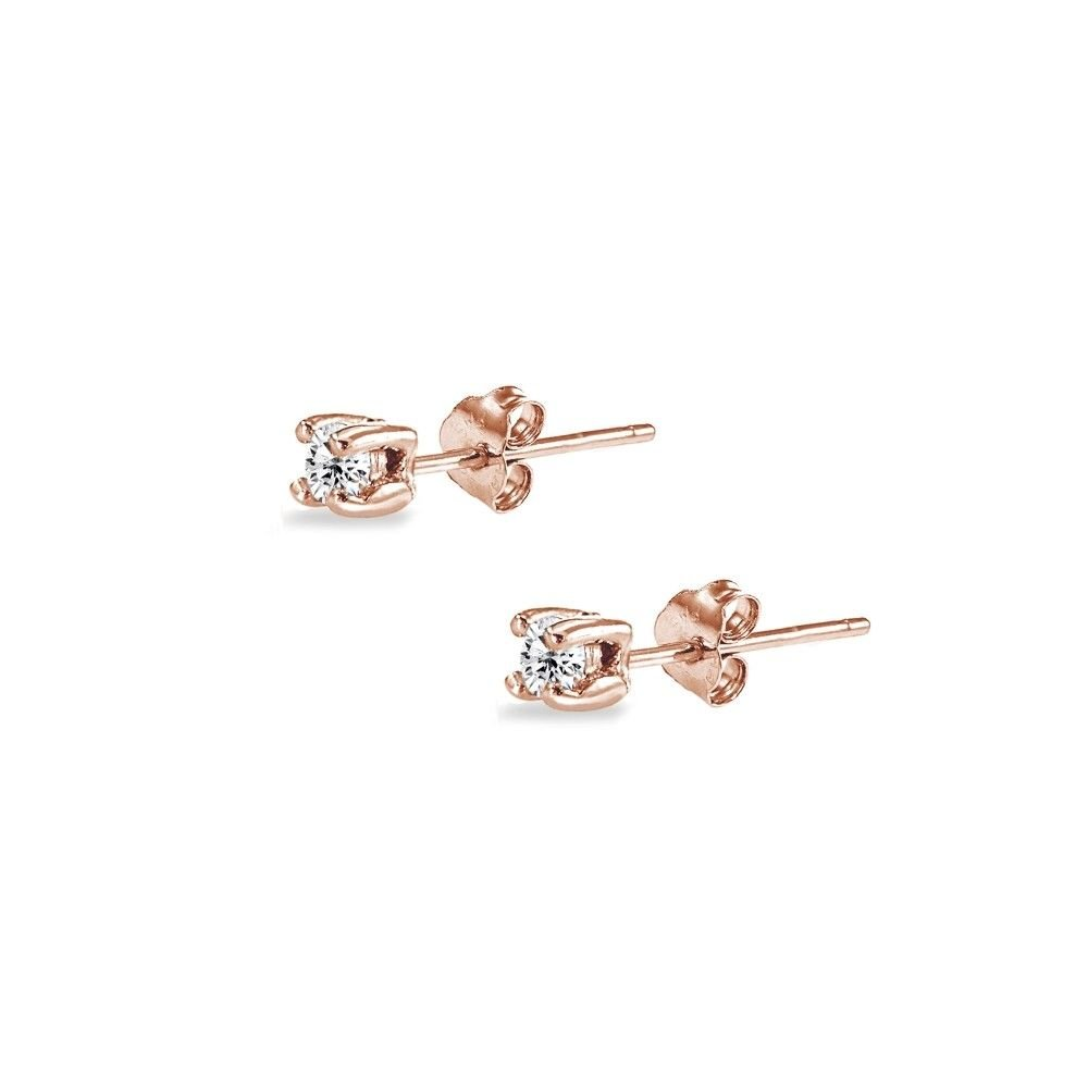 Rose Gold Flash Sterling Silver Cubic Zirconia Set Of 5 Round 2MM Stud Earrings