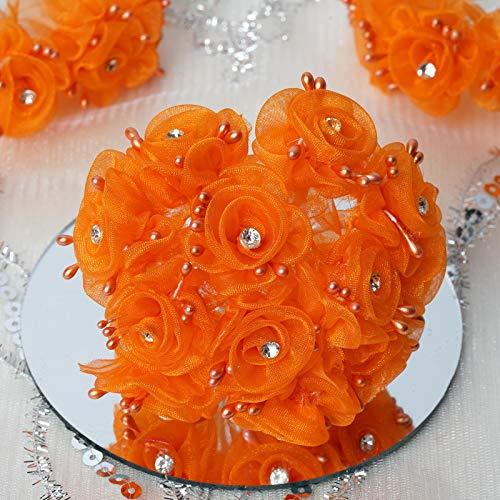 72 pcs Organza Roses with Rhinestones - Wedding Flowers Craft Favors Decorations - Flower Rose Organza Wedding