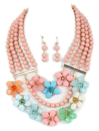 Fashion Jewelry ~ Pink Multi Layer Beads Lucite Flowers Bib Necklace and Earrings Set (Pink Lucite Flower Bead)