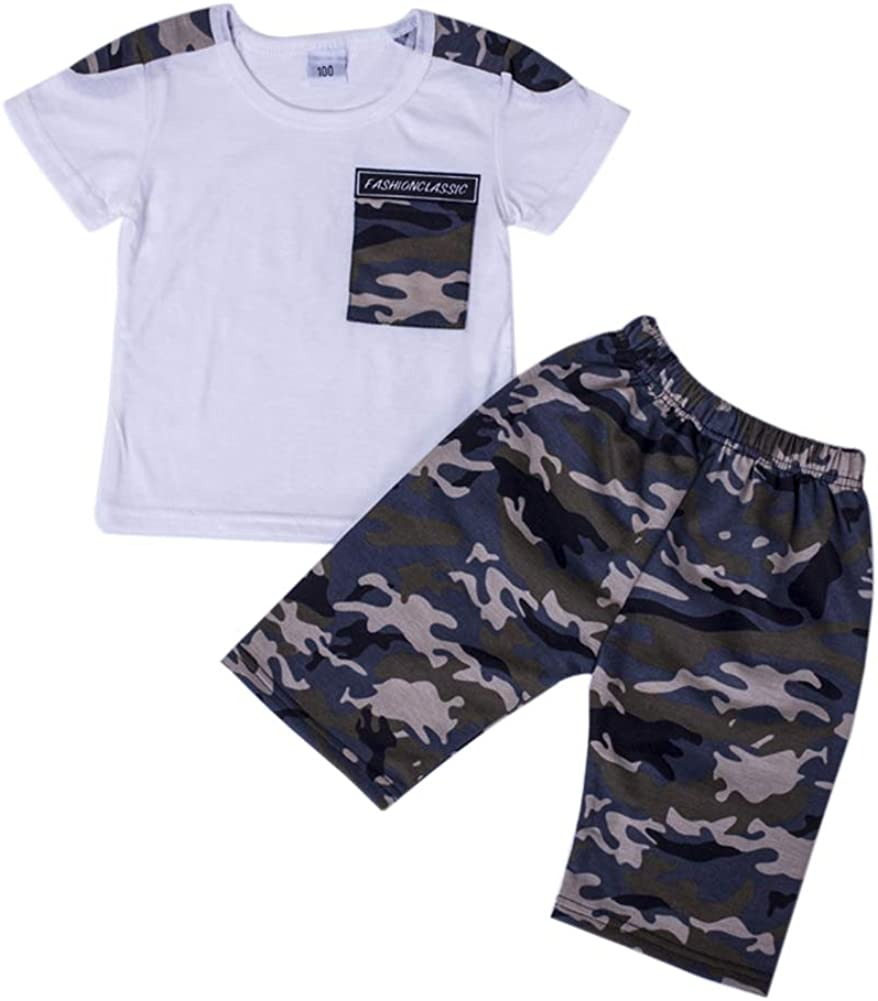 Toddler T-Shirt Tops+Shorts Camouflage Clothes Set for 2-7 Years Qlans Baby Boy Summer Clothing Sets