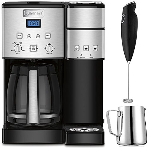 (Cuisinart 12-Cup Coffee Maker and Single-Serve Brewer Stainless Steel (SS-15) with Milk Frother - Handheld Electric Foam Maker for Coffee, Latte, Cappuccino & Stainless Steel Milk Frothing Pitcher)