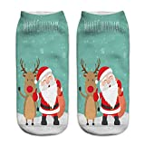 Hot Sales!! ZOMUSA Womens 3D Printed Christmas Holiday Casual Short Cut Ankle Socks (L)
