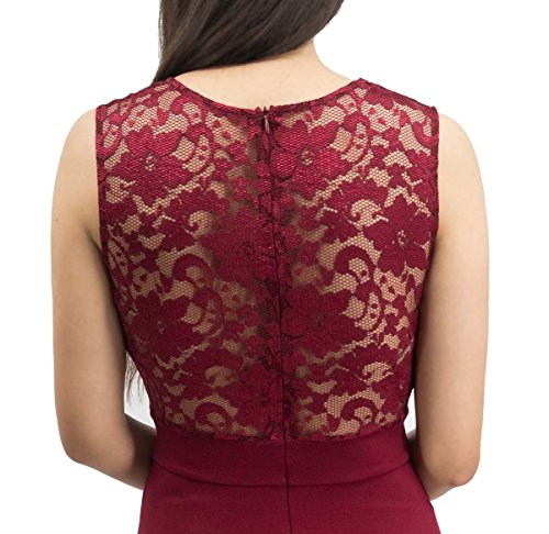 Sylvestidoso Women's A-Line Sleeveless Pleated Little Wine Red Cocktail Party Dress with Lace Back (M, Wine)