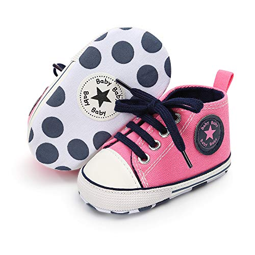 (Save Beautiful Baby Girls Boys Canvas Sneakers Soft Sole High-Top Ankle Infant First Walkers Crib Shoes (12-18 Months Toddler, H-Pink) )