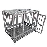 Nurxiovo Double Door Metal Dog Crate Pet Kennel Cage Playpen w/Tray Castor (L43