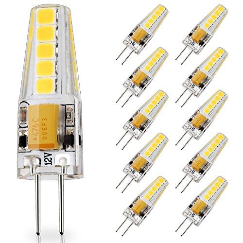10-Pack G4 Base LED Bulb, 20W Glass Halogen ( Daylight White 6000K ) Light Bulbs Replacement, 12V AC / DC, 2 Watt / 230 Lumens, JC T3 Lamp for Under Cabinet Puck Light, Chandelier, Landscape Lighting (Base Safe Glass)