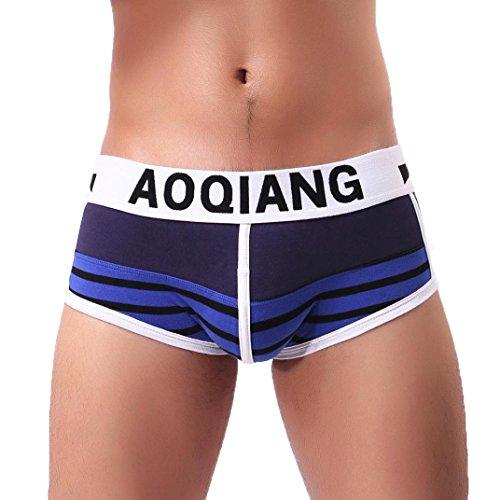 Open Wide Mens Shorts (Sexy Men's Wide Stripe Boxer Briefs Cotton Underwear Bulge Low Rise Shorts Underpants (L, Dark Blue))