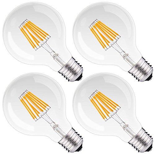 - Dimmable Filament LED G25 Globe Light 75Watt Replacement, DORESshop 8W G80 Globe Vintage Edison Light Bulb, Medium Base(E26), Warm White 2700K, Clear Glass, Bathroom Vanity Mirror Light Bulb, 4Pack