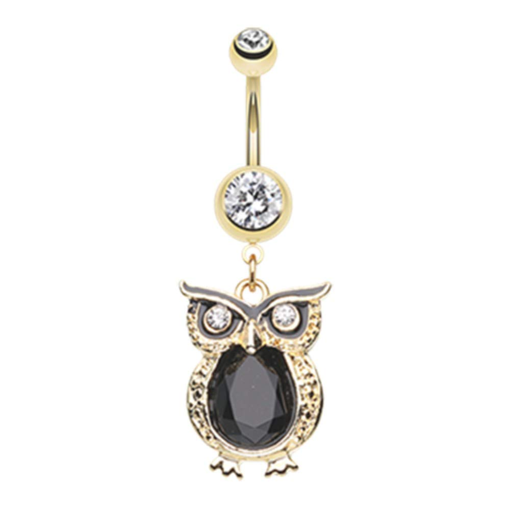 14 GA Golden Dusk Owl Dangle Belly Button Ring Davana Enterprises 14GA Fuchsia//Teal