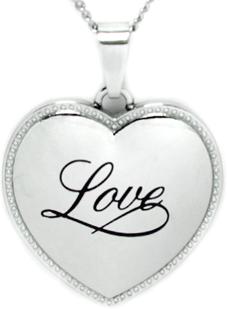 Stainless Steel Necklace Rush Industries Heart Shaped Pendant Engraved with Love Heart Necklace Love Necklace