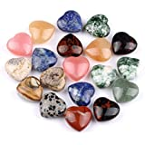 Four worry heart shaped gemstones (Natural Gemstones) set of 4 Natural Semi-precious worry stones