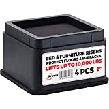 "iPrimio Bed and Furniture Risers – 4 Pack Square Elevator up to 2"" Per Riser and Lifts up to 10,000 LBs - Protect Floors and Surfaces – Durable ABS Plastic and Anti Slip Foam Grip – Stackable – Black"