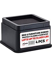 """iPrimio Bed and Furniture Risers - Square Shaped Elevators up to 2.5"""" - Protect Floors and Surfaces - Durable ABS Plastic and Anti Slip Foam Grip - Secure Stacking - Black"""