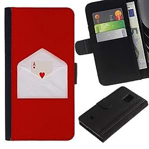 Planetar® Modelo colorido cuero carpeta tirón caso cubierta piel Holster Funda protección Para Samsung Galaxy S5 Mini / SM-G800 (Not For S5!!!) ( Amor Ace Corazón tarjeta de juego sobre de la letra de Red )