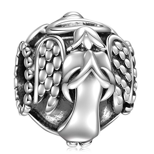 Angel Religious Charm (925 Sterling Silver Love Guardian Angel Prayer Protect Me Charms Bead for European Snake Chain Bracelets)