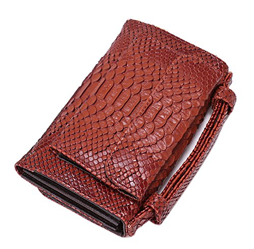 - Womens Genuine Leather Snakeskin Crossbody Purse Tote Handbag Clutch Wallet with Chain (Coffee)