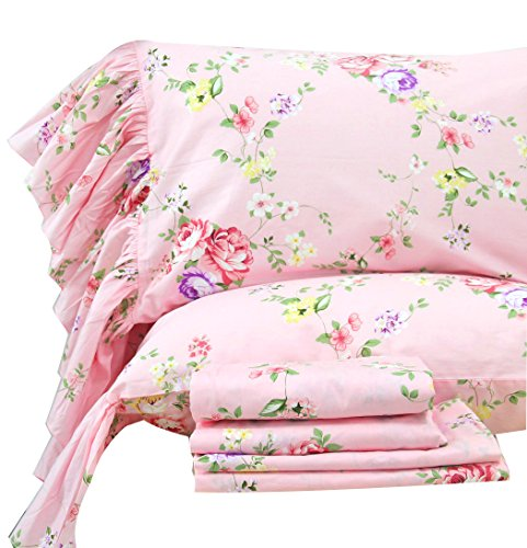 Queen's House Shabby Pink Flower Print Bedding Sheets Set King Size-Style X - Shabby Chic Style Bedding