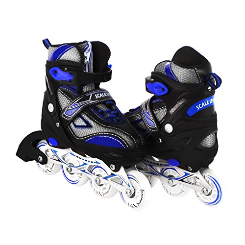 Kids/Teen Adjustable Inline Skates for Girls and Boys Durable Outdoor Roller Blades Illuminating Front Wheel - In Line Hockey Helmets