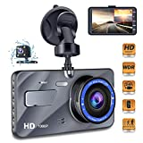 "Dash Cam Car Dashboard Camera - Full HD 1080p Car Dashboard Camera,4""IPS Screen Dual Wide Angle Lens Car Dash Cam,G-Sensor,Cycle Recording,WDR,Parking Monitoring,Motion Detection (Silver Upgrade)"