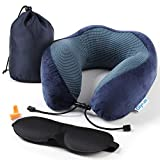 Travel Pillow Glymnis Memory Foam Neck Pillow Ergonomic Comfortable with Handy Travel Bag