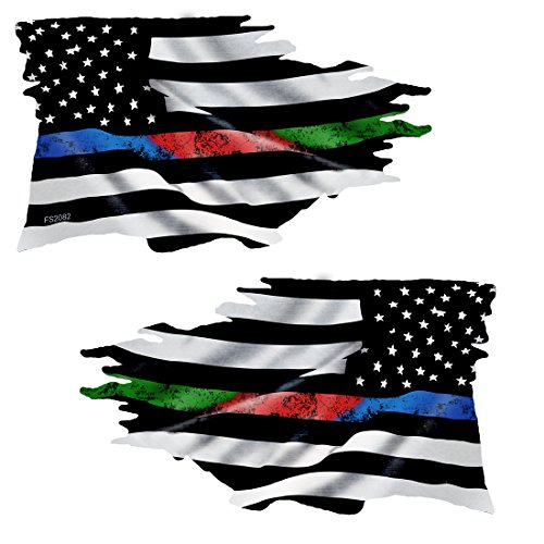 AZ House of Graphics Thin BLUE RED GREEN LINE Tattered Flag