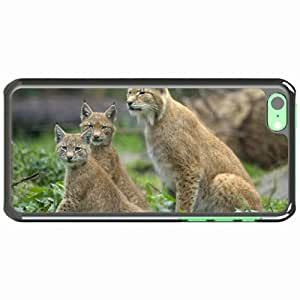 Customized Apple iPhone 5C PC Hard Case Diy Personalized DesignCover Lynx wild three view White