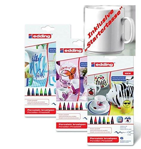 edding Porzellan-Pinselstift edding 4200, 1 - 4 mm   sortiert in verschiedenen Farben zur Auswahl (3, Alle 3 Sorten)