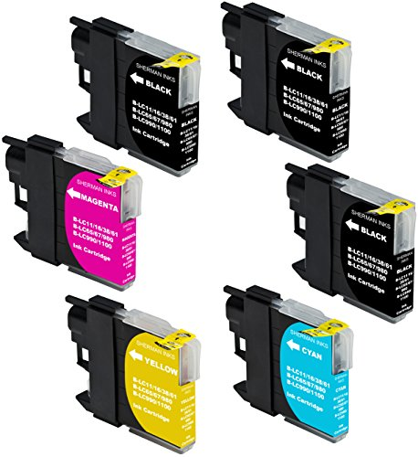 Sherman Inks and Toner Cartridges ® 6 Pack Compatible Brother LC61 LC 61 Ink Cartridge 3 Black, 1 Cyan, 1 Magenta, 1 Yellow Multipack Replacement for Inkjet Printers: DCP-165C, DCP-375CW, DCP-385C, DCP-395CN, DCP-585CW, DCP-6690CW, DCP-J140W, DCP-J715W, MFC-250C, MFC-255CW, MFC-290C, MFC-295CN, MFC-490CW, MFC-495CW, MFC-5490CN, MFC-5890CN, MFC-5895CW, MFC-6490CW, MFC-6890CDW, MFC-6890DW, MFC-790CW, MFC-795CW, MFC-990CW, MFC-J220, MFC-J265W, MFC-J270W, MFC-J410W, MFC-J415W,J615W, J630W BK C M Y Dcp 585cw Colour
