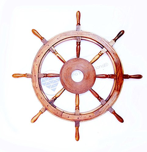 Large MDF Hub Premium Wood Nautical Handcrafted Ship Wheel | Pirates Wall Decor Gift