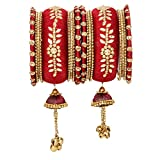 Vishal-Vatika Indian Fashionable Bollywood Designer Latto Thread Ghungroo Bangle Pairs (Maroon, 2.4)