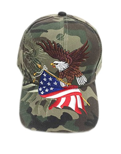 Aesthetinc Patriotic American Eagle and American Flag Baseball Cap USA 3D Embroidery (Military Camo)OS