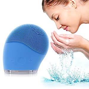 Quimat Facial Cleansing Brush and Face Massager,New Ultrasonic Silicone Facial Cleansing System for Face Clear Polish and Scrub (Blue)