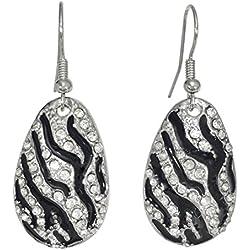 Drop Dangle with Rhinestones Fancy Formal Prom Earrings (Zebra Teardrop)