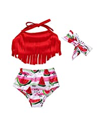 Miwear Baby Girl Swimsuit Tassel Halter Top + Watermelon Shorts + Headband