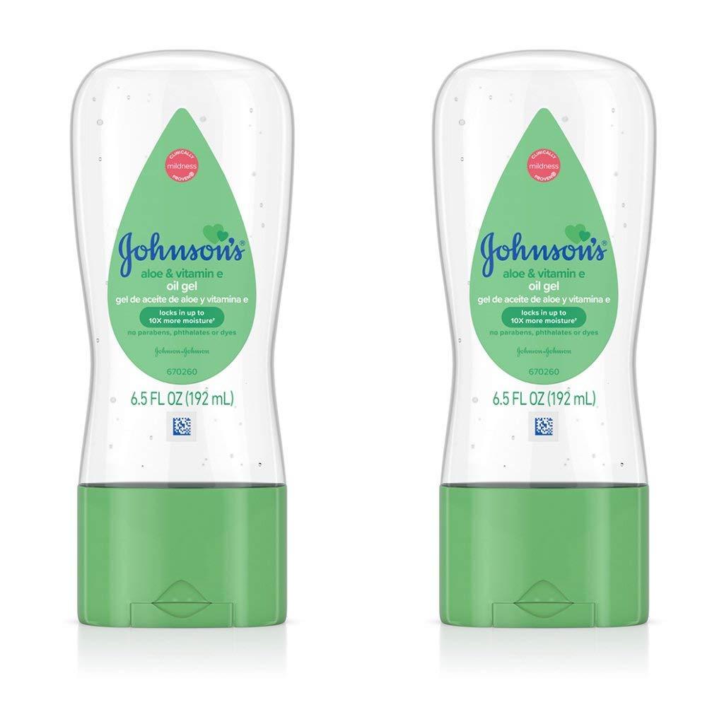 Johnson's Baby Gel Oil with Aloe & Vitamin E, 6.5 Ounces (Pack of 2)