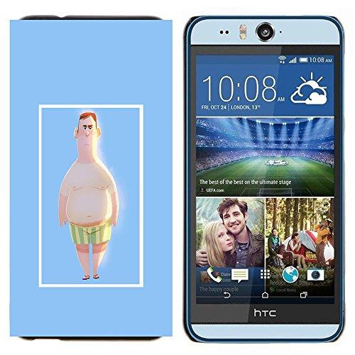YiPhone /// Premium Schlank Snap-Fall-Abdeckung Shell Rüstung Schutzhülle - Man Strandshorts Pale White Big Belly Kunst - HTC Desire Eye M910x