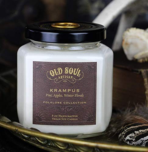 Krampus - Pine Candle w/Apple, Winter Florals -