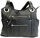 Leather Locking Concealment Purse - CCW Concealed Carry Gun Shoulder Bag, Black