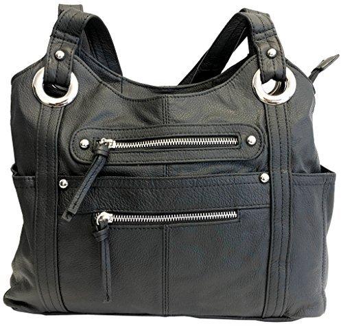 Leather Locking Concealment Purse - CCW Concealed Carry Gun Shoulder Bag, Black