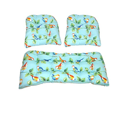 Piece 2 Settee (3 Piece Wicker Cushion Set - Richloom Solar Outdoor Sky Blue Curious Birds Indoor / Outdoor Fabric Cushion for Wicker Loveseat Settee & 2 Matching Chair Cushions)