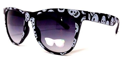 Amazon.com: Blanco y Negro de calaveras Wayfarer anteojos de ...