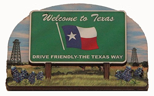 (Texas State Welcome Sign Wood Fridge Magnet 2)