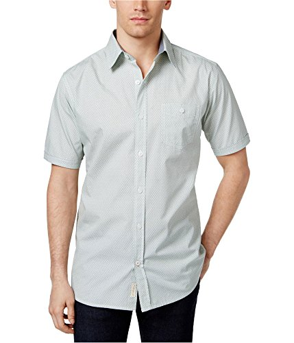 Weatherproof Geometric Micro Dots Short Sleeve Button Down Shirt (Green, Large) -