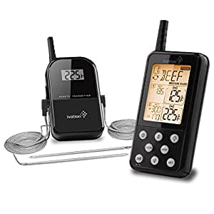 Ivation Long Range Wireless Thermometer - Remote BBQ, Smoker, Grill, Oven, Meat Thermometer - Monitors Food From Up To 300 Feet Away (Large Black)
