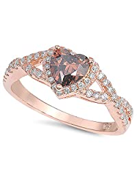Sterling Silver .925 Cubic Zirconia Women's Rose Gold CZ Infinity Heart Halo Champagne Promise Ring 4-10