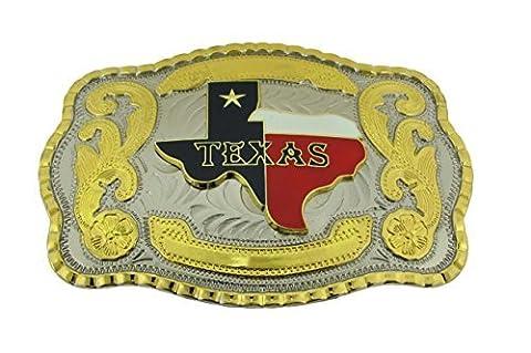 Gold Texas Flag Western Style Cowboy Rodeo Gold Large Belt Buckle (Hebillas De Rodeo)
